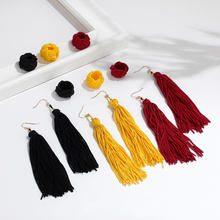 IF ME Fashion Vintage Ethnic Bohemia Rope Knot Long Tassel Earrings For Woman Multicolor Statement Earring Jewelry Trendy Style