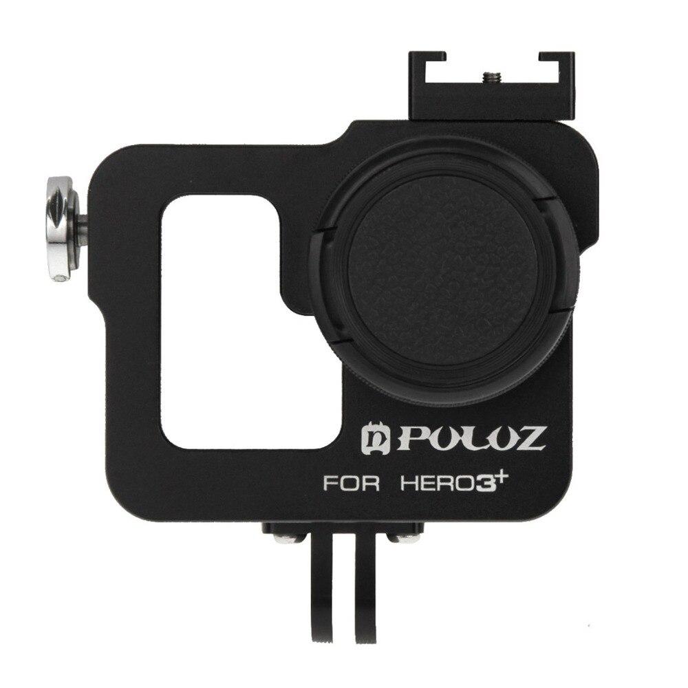 PULUZ vivienda de CNC de aleación de aluminio de jaula protectora con 37mm UV Filtro de lente y tapa de la lente para GoPro HERO3 +/3