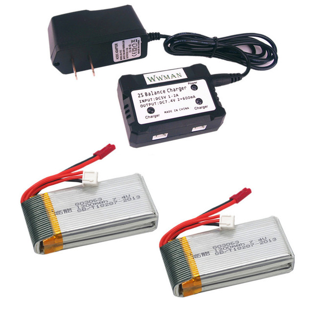 REikirc 2pcs 7.4V 1200mah Battery and 1to2 7.4V Battery Charger for Contixo...