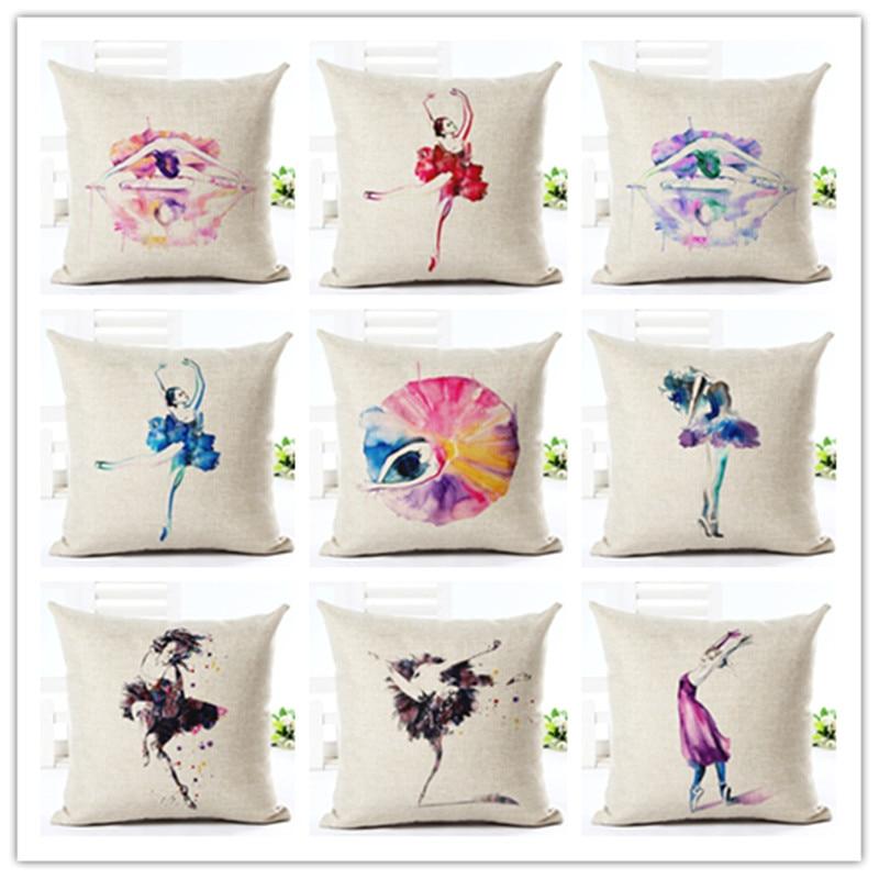 2016 Color Fsahion Dancing <font><b>Elegant</b></font> Girl Print <font><b>Home</b></font> <font><b>Decor</b></font> Cotton Linen Cushion Cover Sofa Cushion Cojines