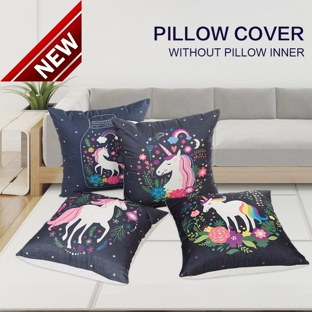 45x45 cm Unicorn Lino Gettare Pillow Case Copertura del Cuscino Cuscini Decorati