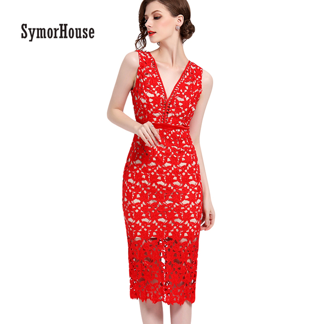SymorHouse Sexy Cut Out Summer Dresses Deep V Neck Red Pencil Lace Dress  Women Work Casual 676cf259a6