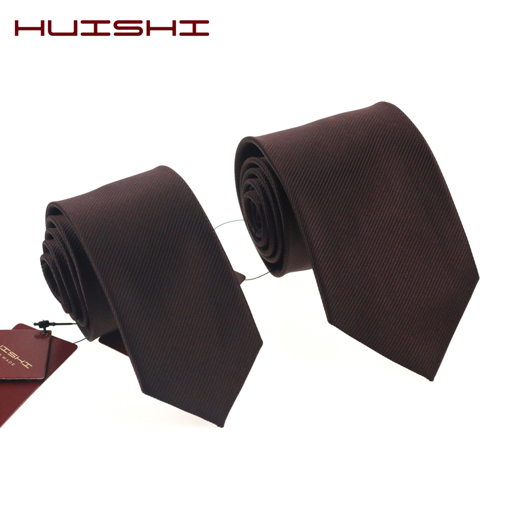 HUISHI Brand Fashion Checked & Stripe & Plaid 8cm 6cm Brown Tie For Men Suit Business Wedding Party Neckties Brown Tie Gift