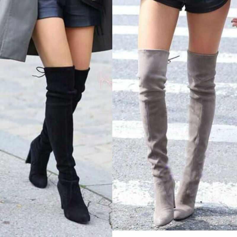 เซ็กซี่ต้นขาสูงรองเท้าผู้หญิงกว่าเข่าบู๊ทส์ Lace Up รองเท้าบูท Suede รองเท้าส้นสูงรองเท้าผู้หญิง Botas ขนาดใหญ่ 35-43