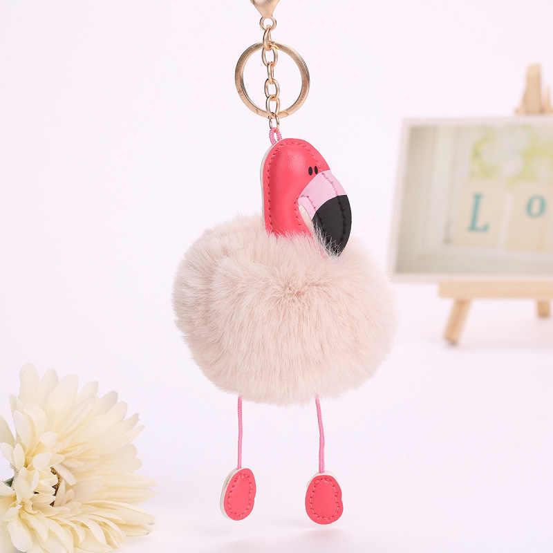 2017 Bonito Rosa Flamingo Chaveiro Mulheres Faux Pele De Coelho Bola Pompom Pompom Fofo Saco Cadeia Chave Do Carro Chave de Pom Pom rey Anel Titular