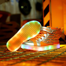 2017 new children's shoes boys and girls sports shoes LED lights glow children USB charging casual shoes size 25-37