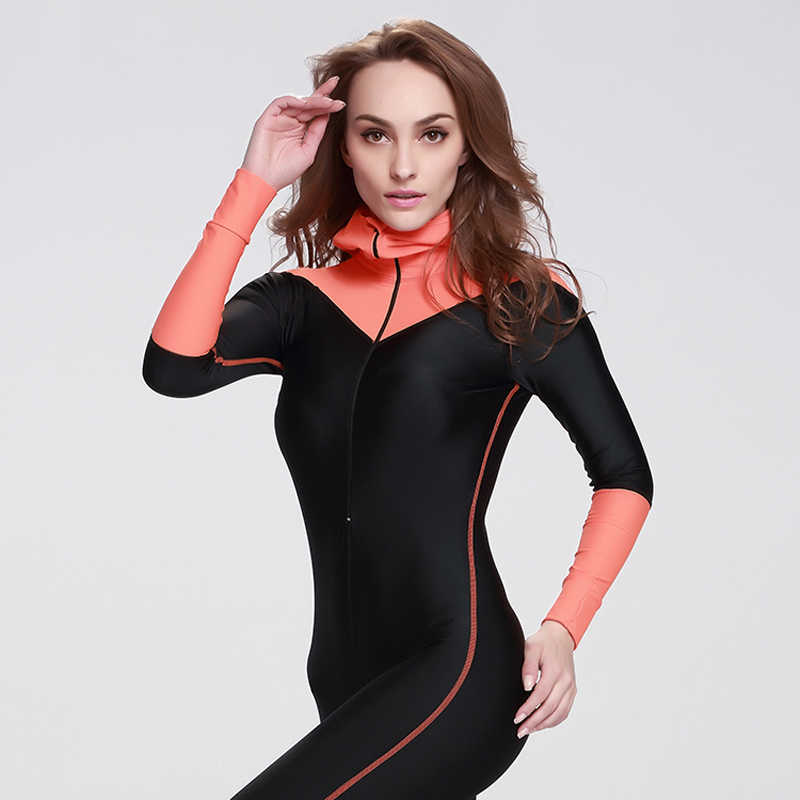 SBART Женский гидрокостюм из лайкры с длинным рукавом Женский гидрокостюм для серфинга с капюшоном с подушкой для груди оборудование для подводного плавания мокрый костюм N