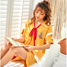 Summer 2019 cotton pajamas suit cartoon casual women short-sleeved shorts 2 piece sweet bow lace letter print sleepwear Floral