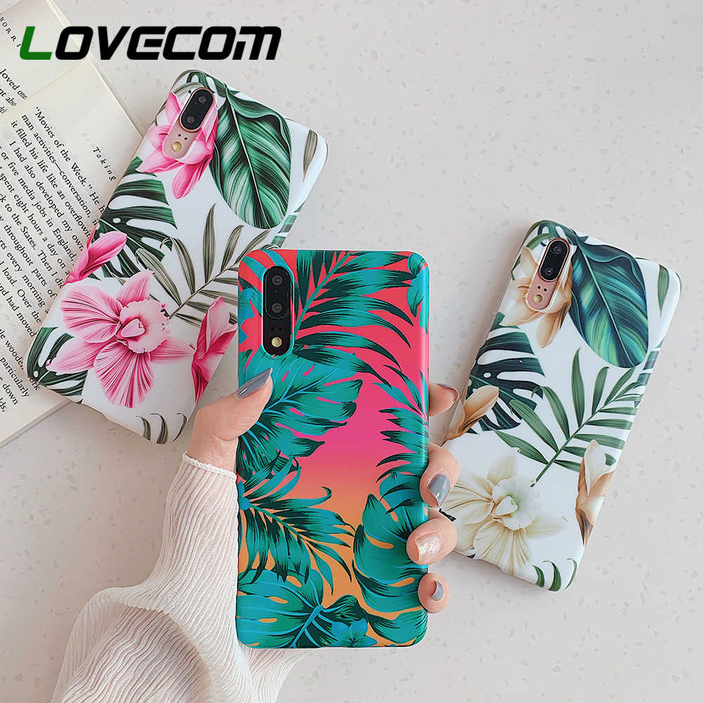 LOVECOM Vintage Flower Banana Leaf Phone Case For Huawei P20 P30 Pro Lite Mate 20 Lite Shockproof Soft IMD Full Body Back Cover
