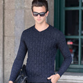 Autumn and winter new middle-aged mens long-sleeved jacquard pullovers V-neck sets of men's thick 100% pure wool sweater