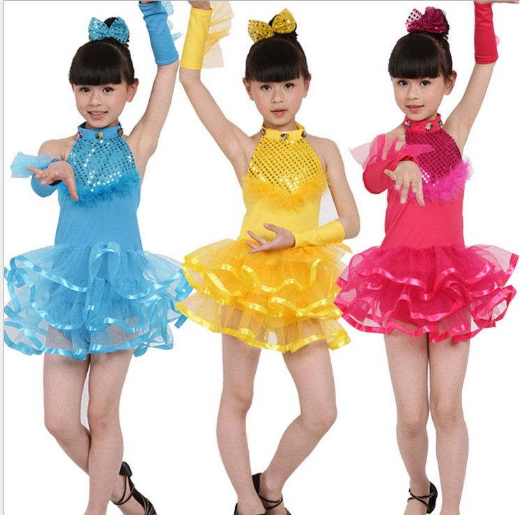 Free shipping,Children red blue yellow Latin dance dress girl stage performance dance dress,suitable for 110cm-150cm kid