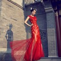 fashion red long evening dress 2016 elegant appliques lace mermaid tulle women pageant gown formal prom party vestido