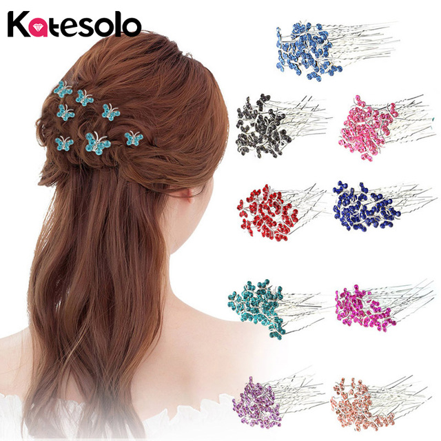 hot wholesale 10pcs multicolor crystal butterfly hair clips wedding bridal hair pins bridesmaid jewelry women hair