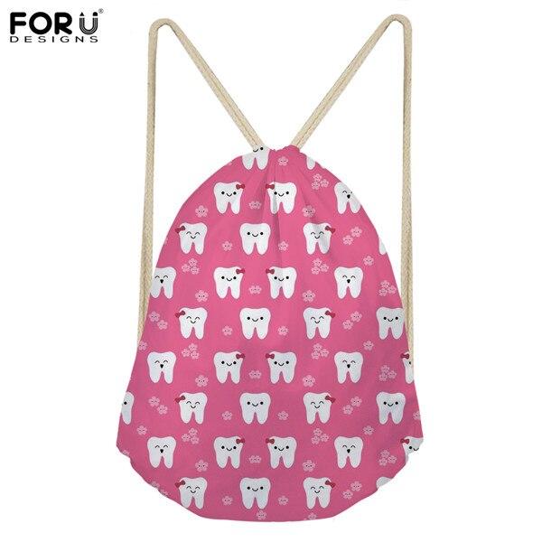 FORUDESIGNS Pink Women Drawstring Bag Cute Dentist/Nurse Pattern Small Women's Backpack Kids School Bags String Shoulder Bags
