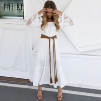 FATIKA Summer Beach Casual Dress 2017 Women Off Shoulder Long Dresses Lace Patchwork Embroidery Hollow Out