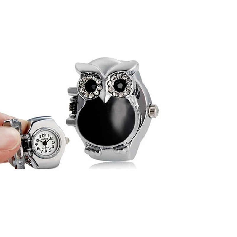 Stylish Jewelry New Finger Ring Watch Hot Creative Fashion Retro Owl Finger Watch Clamshell Ring Watch Use for gift Dropship