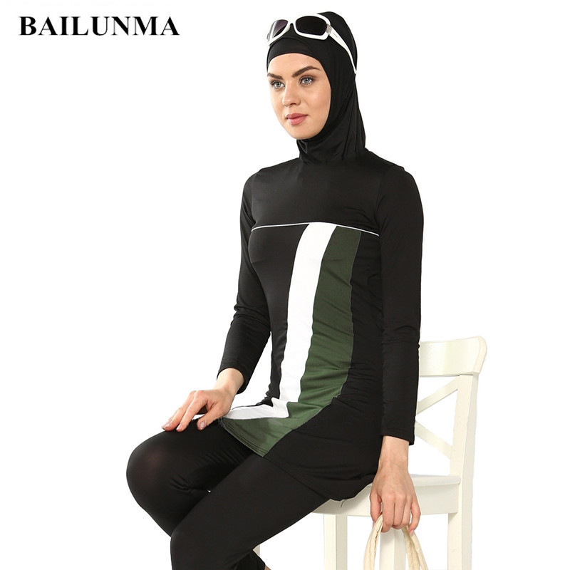 Fashion Muslim Women Swimwear Full Suit For Swimming Islamic Swimsuit Full Face Hijab Swimming Beachwear Swimsuit Sport Clothing