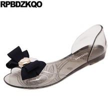 cc9d1bb733ded Jelly Transparent Women Sandals Flat Summer 2018 Cute Cheap Kawaii Bow  Bowtie Slip On Shoes Ladies