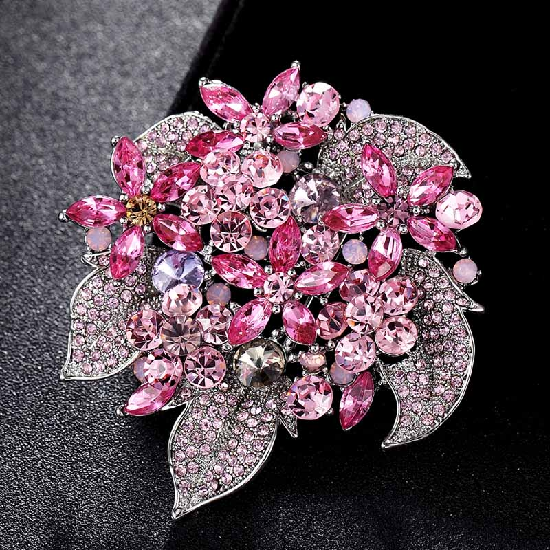 Perla Moda Vintage Broche Pin Insignia Gema de cristal Bling Wedding Bridal Bouquet