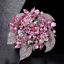 Fashion Bridal Flower Brooches Jewelry Perfect Pink Green Rhinestone Crystal Hijab Pins Brand Women's Party Broches Bijoux