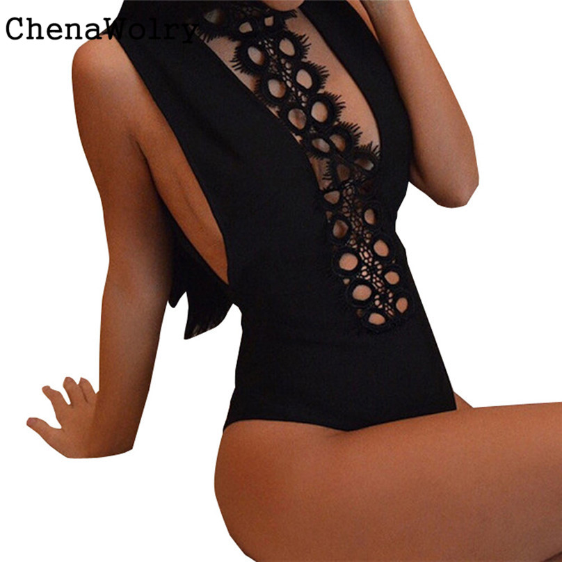 Super Sexy Hot Sales Attractive Luxury Fashion Women Lace Backless Jumpsuit Swimsuit Bodysuit #AK5650