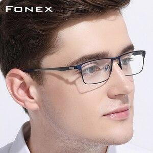 Image 2 - FONEX Alloy Glasses Frame Men Ultralight Square Myopia Prescription Eyeglasses Frames Metal Full Optical Screwless Eyewear