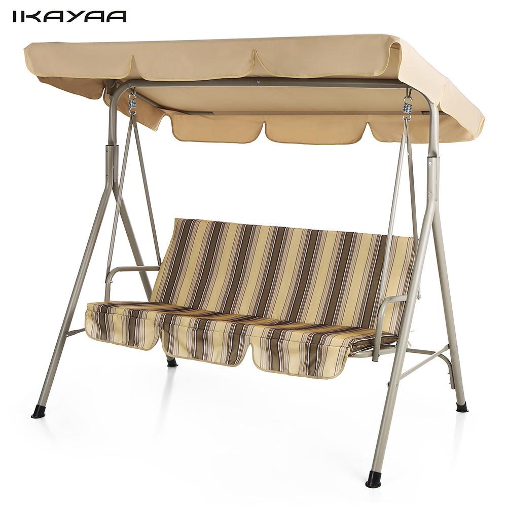 IKayaa 3 Person Seater Patio Canopy Swing Glider Outdoor Porch Swing Chair  Backyard Furniture Metal Frame