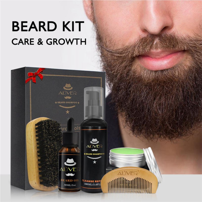 ALIVER 5Pcs Men Beard Care Set Beard Oil Wax Kits Hair Loss Products With Comb B