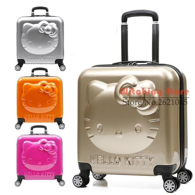 18 INCH  18# Children's pull rod hellokitty travel box universal wheel suitcase KT18 lovely female cartoon board case