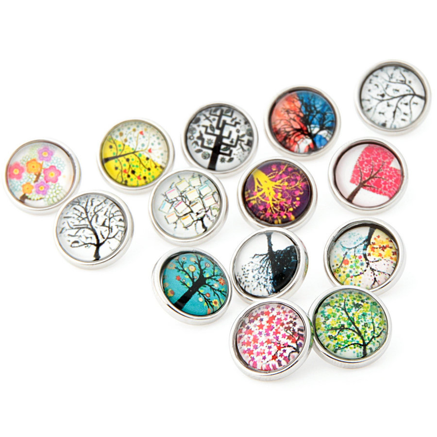 Wholesale 10pcslot Tree Of Life Metal Snap Button Bracelet For Women 12mm Charm Snap Button Jewelry Silver Plated Around image