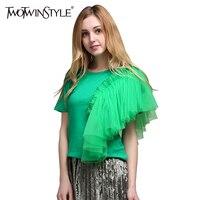 Twotwinstyle 2017夏女性チュールメッシュフリルtシャツトップス半袖tシャツカジュアル服韓国ファッション新しい緑色固体