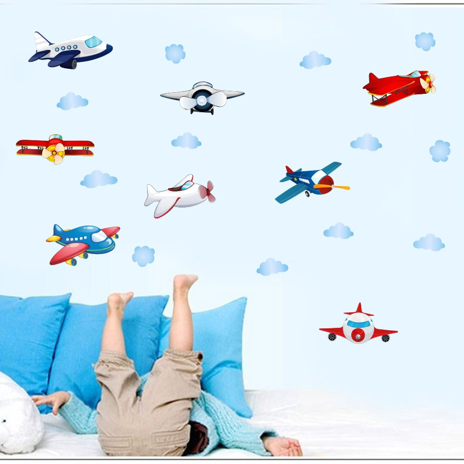 Could Stars Plane Rocket Cartoon Wall Art Decal For Kid Nursery Bedroom Home Decor Vinyl Wall Sticker Removable Modern Wallpaper (2)