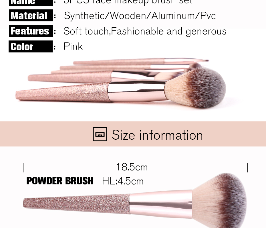 Zoreya Brand 5pcs Face Makeup Brush Eye Make Up Tools