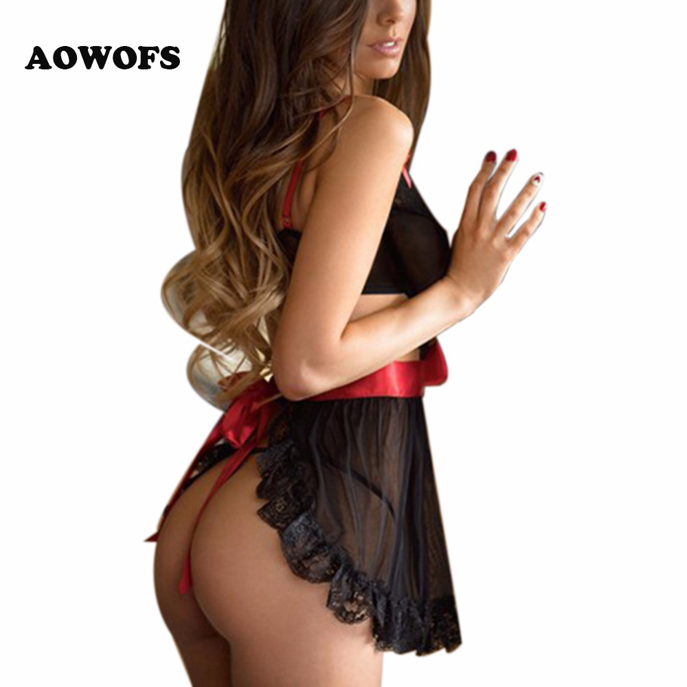 <font><b>Women</b></font> <font><b>Sexy</b></font> Black G-String <font><b>Babydoll</b></font> Sleepwear Bow Tie Sheer <font><b>Lace</b></font> Nightie Dress Hot Erotic <font><b>Lingerie</b></font> <font><b>Underwear</b></font> <font><b>2017</b></font> New Lenceria image