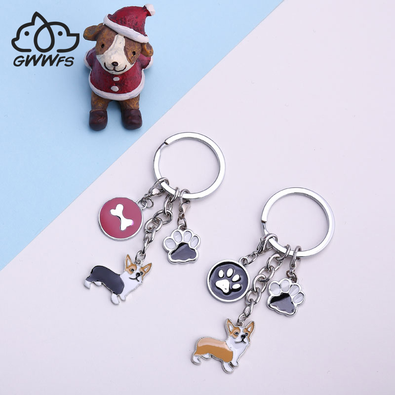 Cartoon Corgi Key Chain Keyring Car Interior Accessories Tool Personality Retro Keychain High-grade Key Ring Ideal Gift For All Occasions Interior Accessories Key Rings