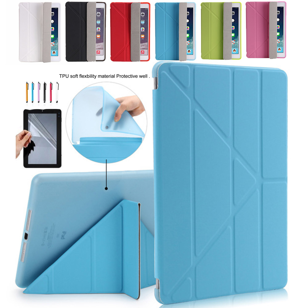 Ultra Slim Fold PU Leather Case For tablet PC Transparent Back For Apple iPad mini 123 Cover Case Smart Case For ipad 7.9 Case