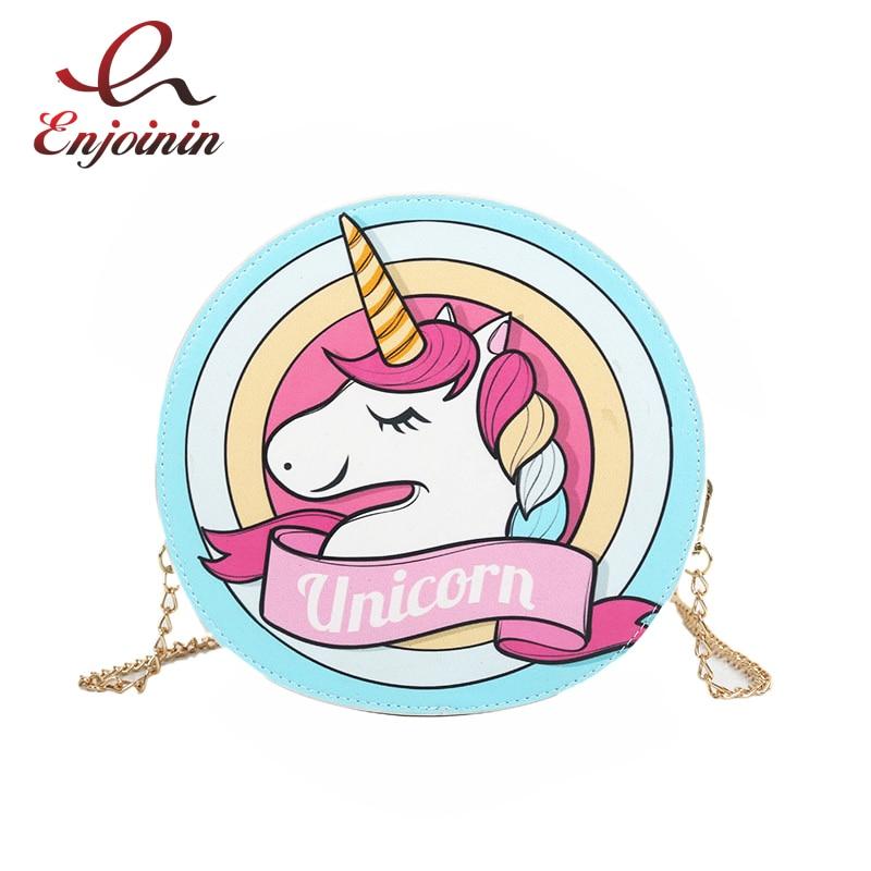 Cute Unicorn Pattern Cartoon Pu Shoulder Bag For Women Chain Purse Handbag Crossbody Mini Messenger Bag Pouch Ladies Bolsa Flap messenger bag