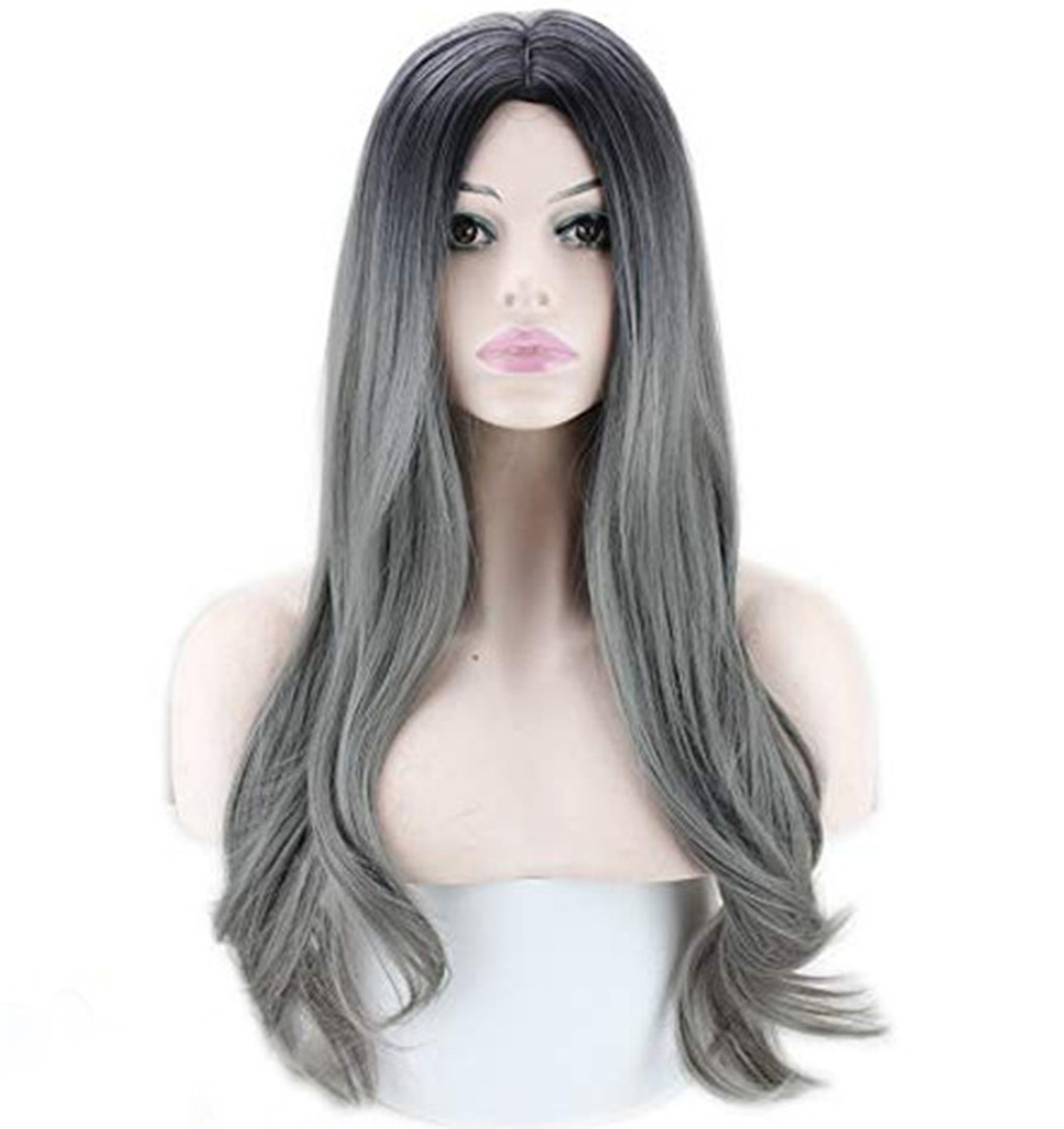 Web Celebrity Women Lady Sexy Gradient Gray Party Wigs Long Curly Hair Mixed Colors Synthetic Wig Peluca Gift Dropshipping