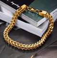 Gold Plated Fashion Men's Gold Twist Chain Bracelet Stainless Steel Classic Male Jewelry