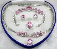 Pink Zircon jewe Women's Wedding Jewelry Set silver watch wholesale Quartz stone CZ crystal