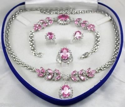 Zircon rose jewe ensemble de bijoux de mariage pour femmes montre en argent en gros Quartz pierre CZ cristal