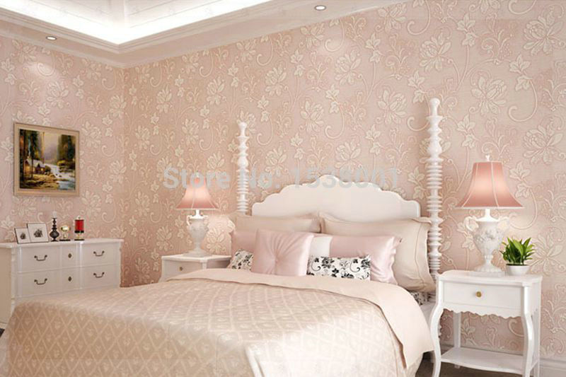 European Luxury Pink Flower Embossed Living Room Bedroom Background
