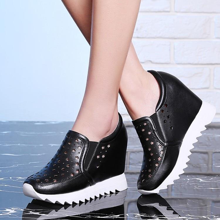 Casuales Slip Alto Interior Negro El blanco en Nuevo Plataforma Bombas 2018 Mujer {zorssar} Tacón Zapatos Aumento Cuero Genuino De qpECZAz