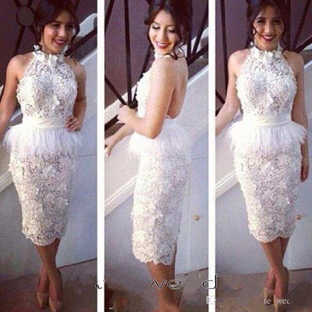 White 2017 Sheath Halter Knee Length Open Back Tulle Lace Elegant Cocktail Dresses Homecoming Dresses Under 50