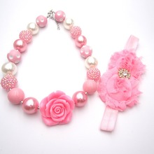 Baby Girls Lovely Pink Flower Chunky Bubblegum Necklace Headbands Sets Kids Birthday Gift Fancy Ourfits Jewelry Set Accessories
