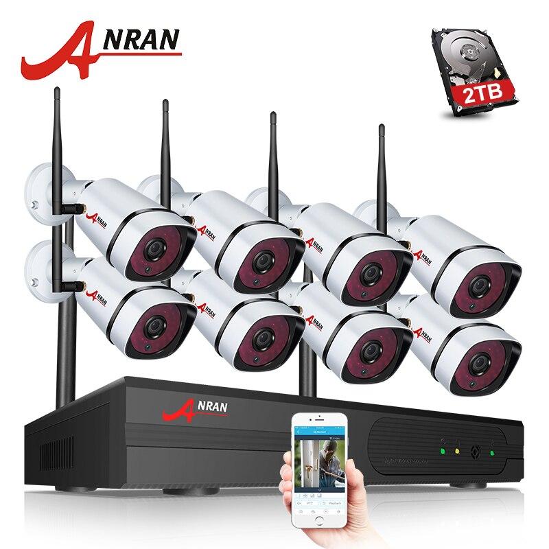 ANRAN nuevo Plug & Play 8CH 1080 p inalámbrica NVR CCTV Kit P2P HD exterior + interior intemperie noche- visión WIFI sistema de cámaras de seguridad
