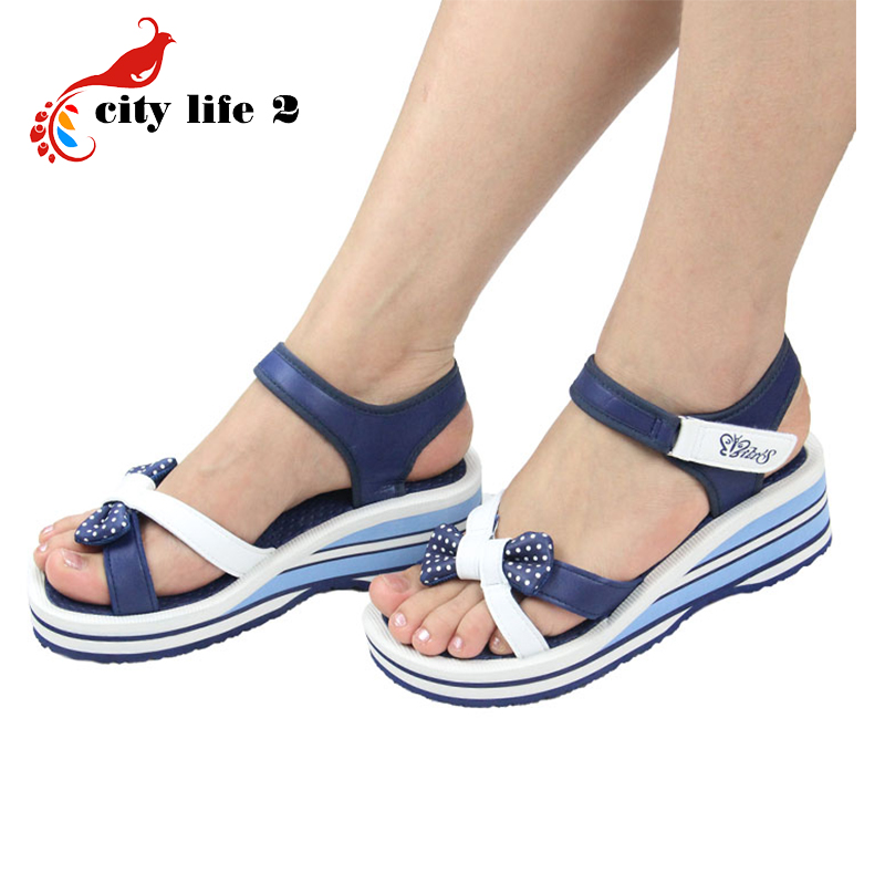 Bowtie Casual Sandals font b Women b font 2015 New Vietnamese Shoes Pink Blue Wedges Platform