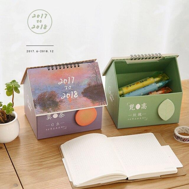 Корея 2018 Творческая Прекрасный дом Настольный календарь небольшой свежий многофункциональный календарь Настольный коробка для хранения канцелярские товары для школы