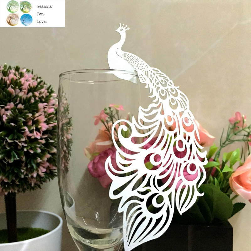 50pcs Peacock laser Cut Paper Place Card Escort Cup Card glass wine charms wedding favors and