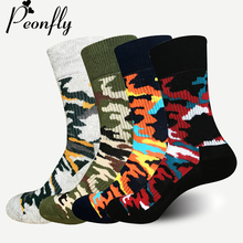 PEONFLY High Quality Graffiti Green Men Cotton Sock Jungle Style Sock Classic Camouflage Movement Reduce Pressure
